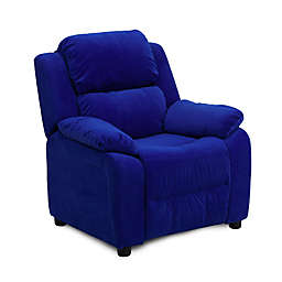 Flash Furniture Microfiber Kids Recliner with Storage Arms in Blue