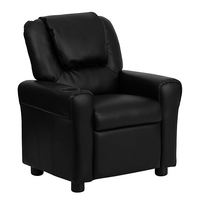Alternate image 1 for Flash Furniture Leather Kids Recliner with Headrest and Cup Holder in Black
