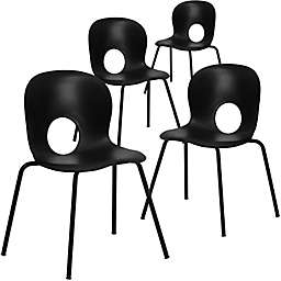 Flash Furniture Cafe Style Plastic Stack Chairs (Set of 4)
