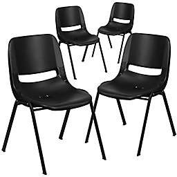 Flash Furniture Ergonomic Shell Plastic Stack Chairs in Black (Set of 4)