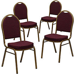 Flash Furniture HERCULES Banquet Chairs in Burgundy/Gold (Set of 4)