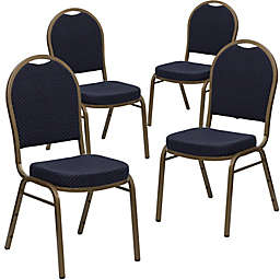 Flash Furniture HERCULES Banquet Chairs in Navy/Gold (Set of 4)