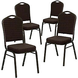 Flash Furniture HERCULES Fabric Banquet Chairs in Brown/Gold (Set of 4)
