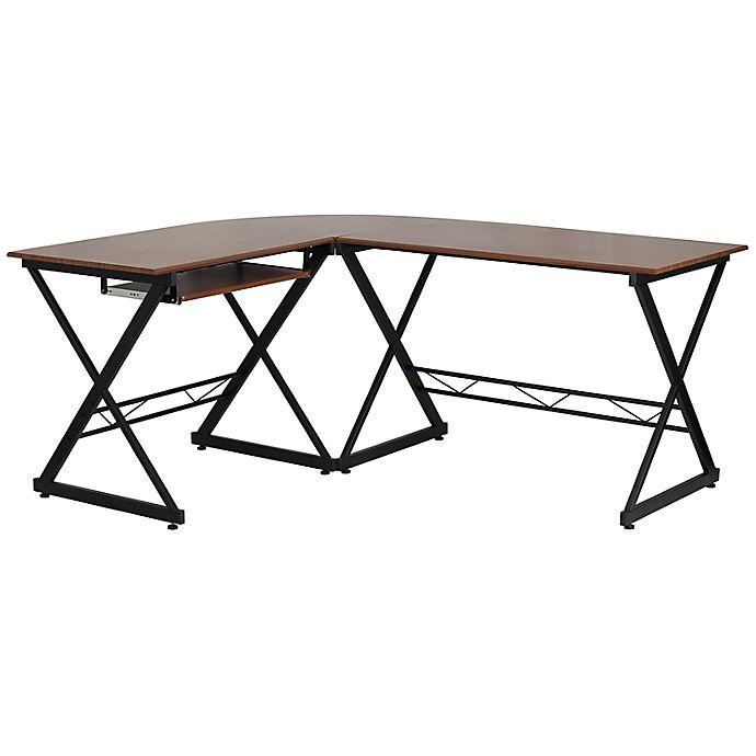 Alternate image 1 for Flash Furniture L-Shape Laminate Desk in Teakwood