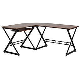 Flash Furniture L-Shape Laminate Desk in Teakwood
