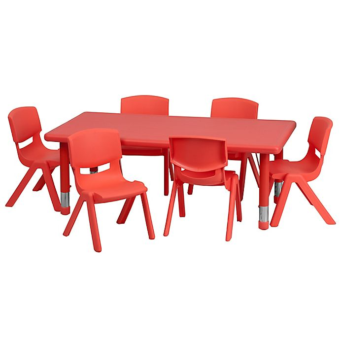 Alternate image 1 for Flash Furniture Rectangular Activity Table with 6 Stack Chairs in Red