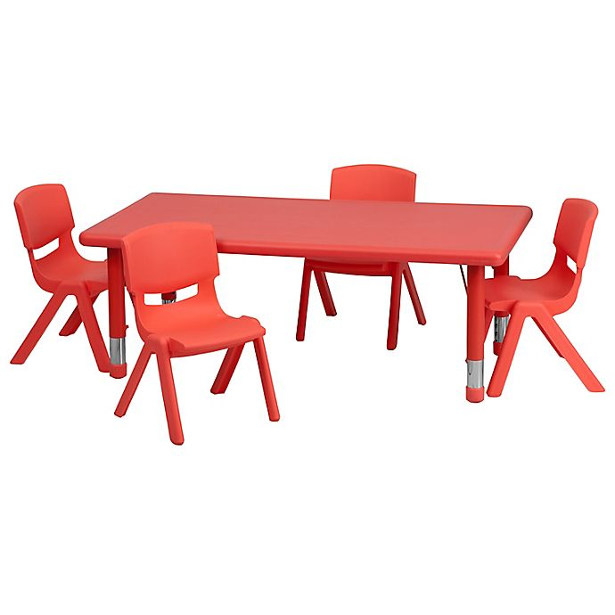 Alternate image 1 for Flash Furniture Rectangular Activity Table with 4 Stack Chairs in Red