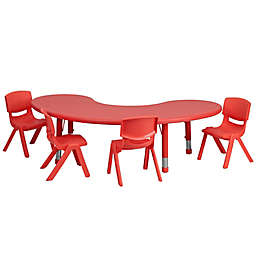 Flash Furniture Half-Moon Activity Table with 4 Stackable Chairs in Red