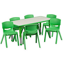 Flash Furniture Rectangular Activity Table with 6 Stackable Chairs in Green/Grey