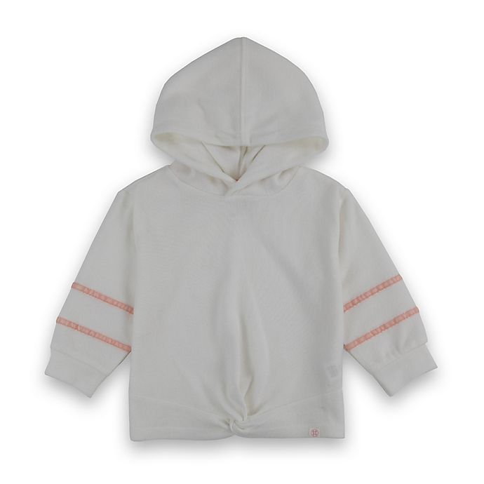 Alternate image 1 for Sovereign Code® Size 6-9M Striped Velour Hooded Sweatshirt in Pink