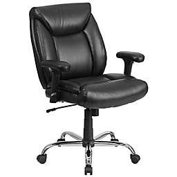 Flash Furniture Hercules Series Big & Tall Faux Leather Swivel Task Chair with Arms in Black