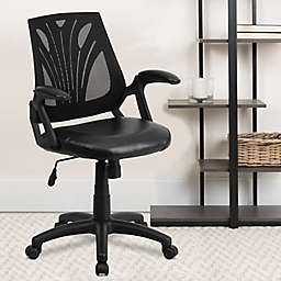 Flash Furniture Mid-Back Mesh Task Office with Leather Seat in Black