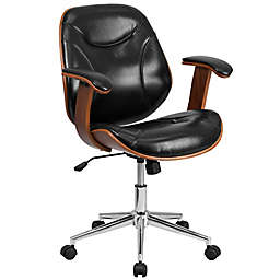 Flash Furniture Mid-Back Faux Leather/Wood Office Chair in Black