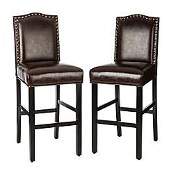Bonded Faux Leather Bar Chairs in Black (Set of 2)