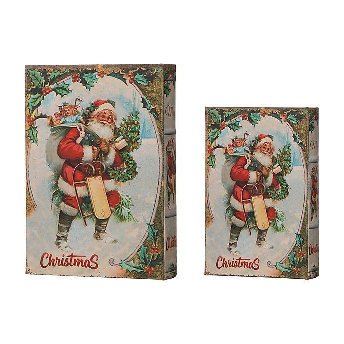 Glitzhome 2 Piece Christmas Santa S Book Box Set Bed Bath Beyond