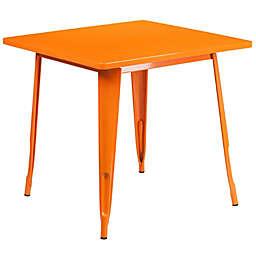 Flash Furniture 31.5-Inch Square Metal Indoor-Outdoor Table in Orange