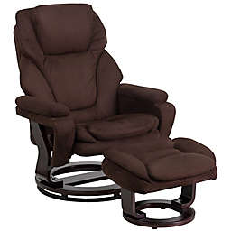 Flash Furniture Contemporary Swivel Recliner and Ottoman Set in Brown