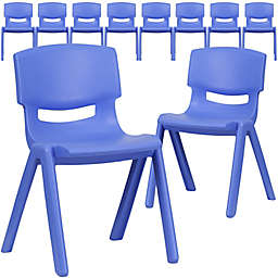 Flash Furniture Plastic Stacking Chair in Blue (Set of 10)