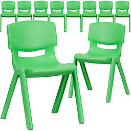 Flash Furniture Plastic Stacking Chair in Green (Set of 10)