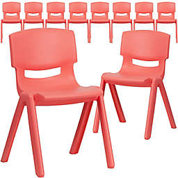 Flash Furniture Plastic Stacking Chair in Red (Set of 10)