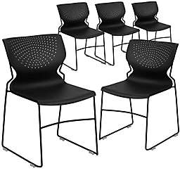 Flash Furniture Vented Plastic Stacking Chairs in Black (Set of 5)