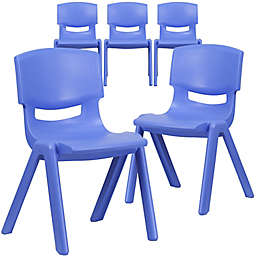 Flash Furniture Contoured Stackable Plastic Chairs (Set of 5)