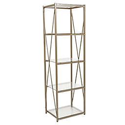 Flash Furniture Mar Vista 5-Tier Glass Storage Shelf in Gold