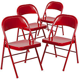 Flash Furniture Double Braced Metal Folding Chair (Set of 4)