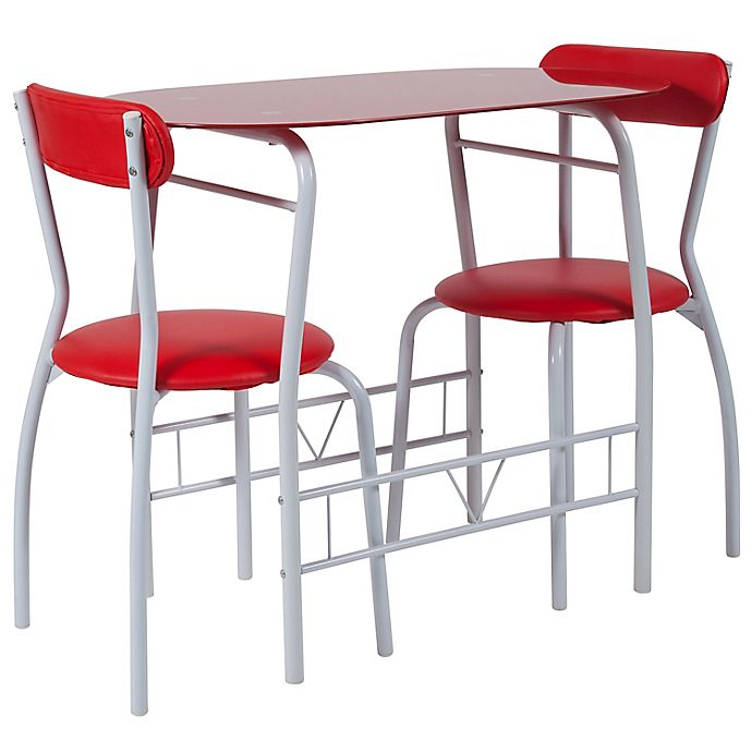 Alternate image 1 for Flash Furniture Sutton 3-Piece Metal and Glass Bistro Set