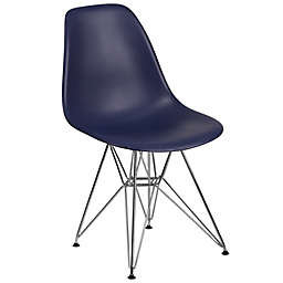 Flash Furniture Elon Series Plastic Chair with Chrome Base in Navy