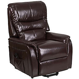 Flash Furniture Faux Leather Remote-Powered Lift Recliner in Brown