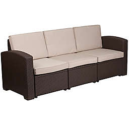 Flash Furniture Outdoor Faux Rattan Sofa in Chocolate Brown with Beige Cushions