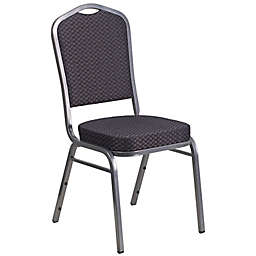 Flash Furniture Crown Back Banquet Chair in Black/Silver