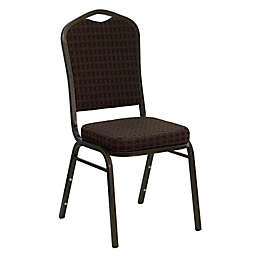 Flash Furniture Upholstered Banquet Metal Chair in Brown Print