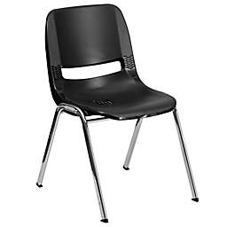 Flash Furniture Plastic Ergonomic Stack Chair in Black