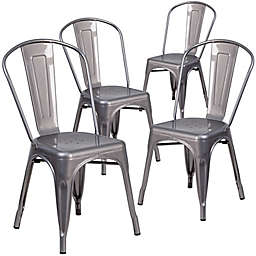 Flash Furniture Clear Coated Stackable Metal Chairs (Set of 4)