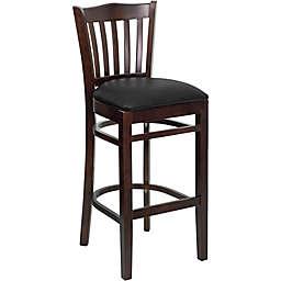 Flash Furniture Vertical Slat Back 43.75-Inch Wood Stool with Black Vinyl Seat