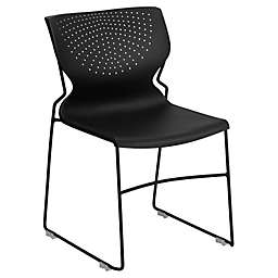 Flash Furniture Plastic Deep-Curve Stack Chair in Black