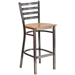 Flash Furniture Metal Ladder Back Stool with Wooden Seat