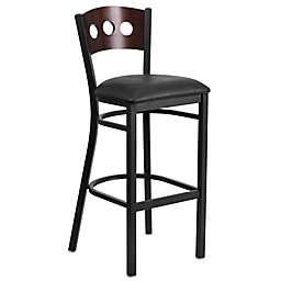 Flash Furniture Circle Back 43-Inch Metal and Walnut Wood Stool with Black Vinyl Seat