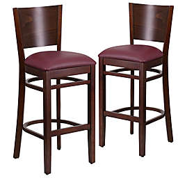 Flash Furniture Solid Back Wood Stools with Vinyl Seats (Set of 2)