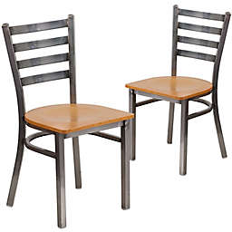 Flash Furniture Clear Coated Metal Ladder Back Chairs with Natural Wood Seats (Set of 2)