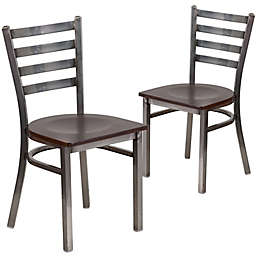 Flash Furniture Clear Coated Metal Ladder Back Chairs (Set of 2)