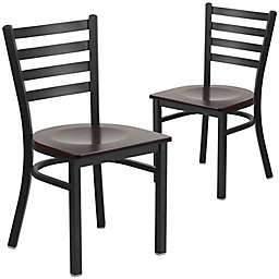 Flash Furniture Ladder Back Black Metal Chairs with Wood Seats (Set of 2)