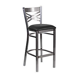 Flash Furniture Clear Coated Metal Bar Stool with Vinyl Seat