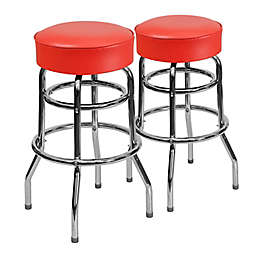 Flash Furniture Double Ring Chrome Stool with Red Vinyl Seat (Set of 2)