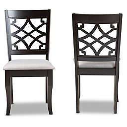 Baxton Studio Rafael 2-Piece Dining Chair Set in Grey/Dark Brown