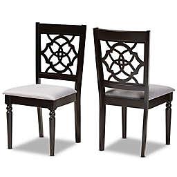 Baxton Studio Raoul 2-Piece Dining Chair Set in Grey/Dark Brown