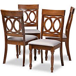 Baxton Studio Roch 4-Piece Dining Chair Set in Grey/Brown