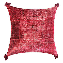 Global Caravan™ Velvet Tassels Square Throw Pillow in Rust